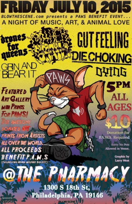 Blow The Scene - Paws Benefit Show - July 10 - 2015 - Philly - promo flyer