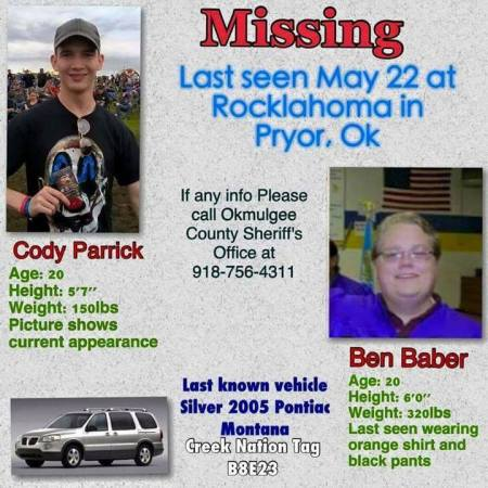 Cody Parrick - Ben Baber - missing flyer - Rocklahoma - May 22 - 2015