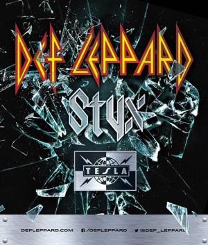Def Leppard - Styx - Tesla - promo tour flyer - Summer 2015 - #MO33NBAS