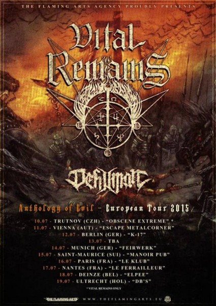 Dehuman - Vital Remains - July - 2015 - tour promo flyer - #07DVRMO