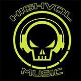 HighVolMusic - logo - yellow on black - 2015 - #0602MO