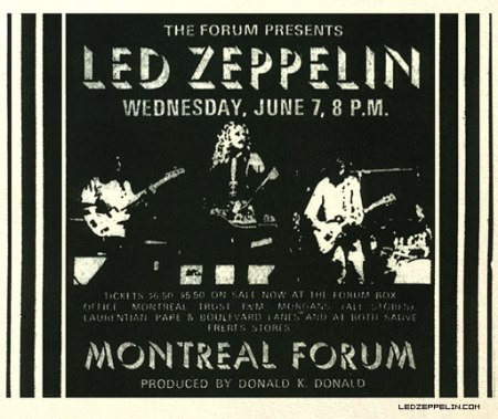 Led Zeppelin - Montreal Forum - promo flyer - 1972 - #0607MORPJP