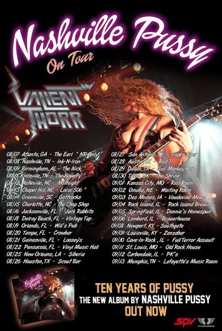 Nashville Pussy - Valient Thorr - promo tour flyer - Summer 2015 - #3369MONLS