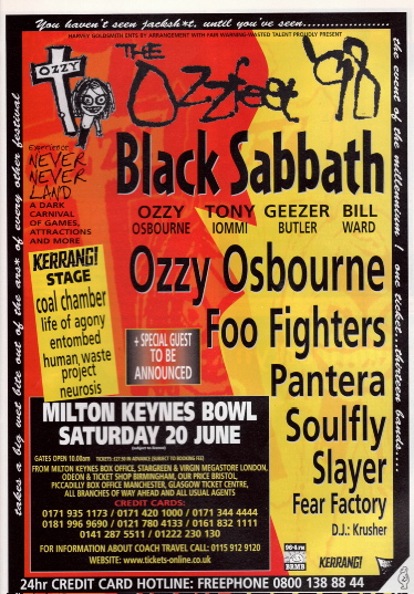 Ozzfest - 1998 - Milton Keynes - UK - June 20 - promo flyer - #062033MOSF