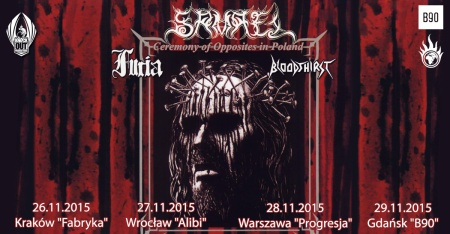 Samael - Furia - Bloodthirst - promo tour flyer - Poland - 2015 - November