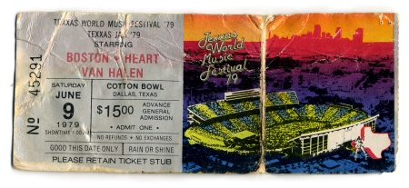 Texxas Jam 2 - June 9 - 1979 - Ticket - Van Halen - Boston - Heart - #0979MOSR