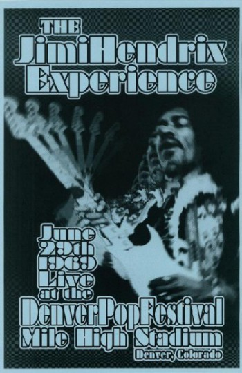The Jimi Hendrix Experience - Denver Pop Festival - 1969 - promo flyer