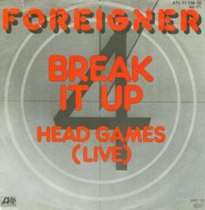 Foreigner - Break It Up - Head Games Live - 45rpm - cover sleeve promo - #81MIMAMNS