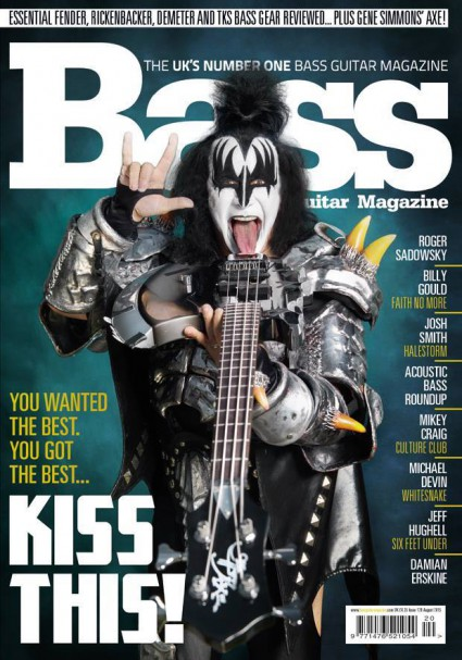 Gene Simmons - Bass Guitar Magazine - cover feature promo pic - 2015 - #KMOMMSSOTF
