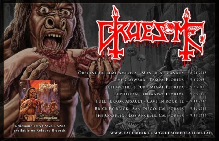 Gruesome - Summer 2015 - promo tour flyer - #33003MOSMNMS99