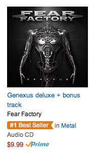 Fear Factory - Genexus - promo #1 best seller - Amazon - Aug - 07 - 2015