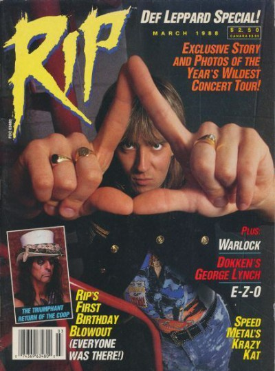 Joe Elliot - Def Leppard - RIP Magazine - cover promo - March 1988 - #GMMMSA3030S3
