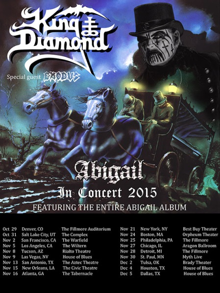 King Diamond - Abigail In Concert - Tour Flyer - 2015 - #3366KDMMGMSASHS