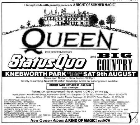 Queen - Knebworth - Festival Flyer - 08-09-86 - #33MM033S