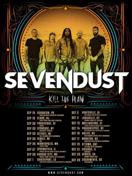 Sevendust - Kill The Flaw - promo tour flyer - Autumn 2015 - #33MMGMSAS77733