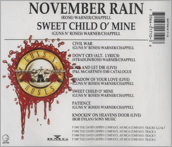 Guns N Roses - November Rain CD - back cover pic - Australian - promo pic - #07070733MNMMSAS