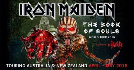 Iron Maiden - The Book Of Souls World Tour 2016 - Australia - New Zealand - promo flyer - #30609MMSNS24HB