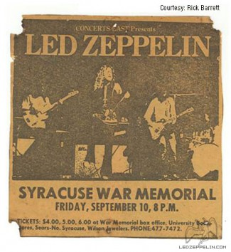 Led Zeppelin - 1971 - Syracuse NY - Onondaga - concert flyer - #0910MOSNMMFE