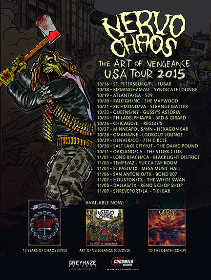 Nervochaos - The Art Of Vengeance USA Tour - 2015 - promo flyer - #369MONMMSS