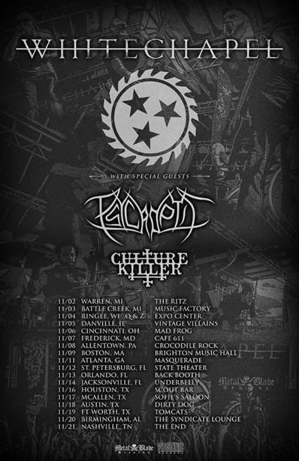 Whitechapel - Psycroptic - Culture Killer - promo tour flyer - November 2015 - #0933MNSS