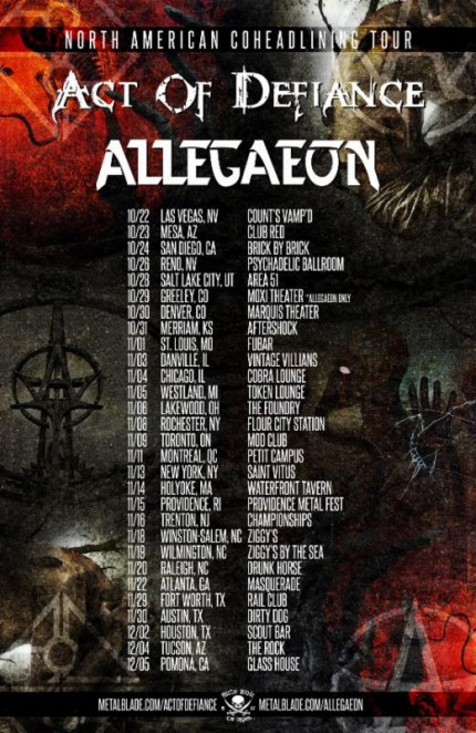 Act Of Defiance - Allegaeon - North American Tour - promo flyer - 2015 - #MOMSSNSC39395