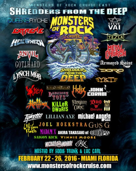 Monsters Of Rock Cruise - Shredders From The Deep - 2016 - promo flyer - #MOSNMSSC9933033