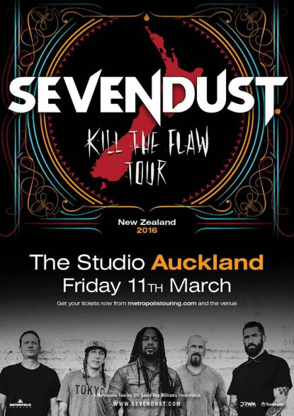 Sevendust - Kill The Flaw Tour - promo flyer - 2016 - March 11 - #MO3399MMNSS