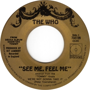 The Who - See Me Feel Me - 1970 - promo 45rpm pic - #MO3333SSNM