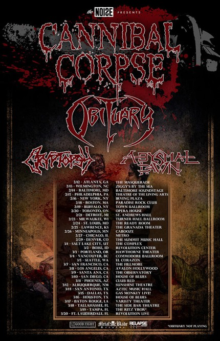 Cannibal Corpse - Obituary - North American Tour 2016 - promo flyer - #MOSNMSC339933