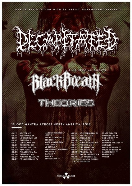 Decapitated - Black Breath - Theories - promo tour flyer - January 2016 - #MO33339955