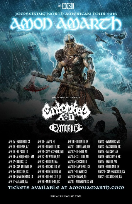 Amon Amarth - Entombed AD - Exmortus - April - May - 2016 - Tour Promo Flyer - 2016 - #MOILMFD3399