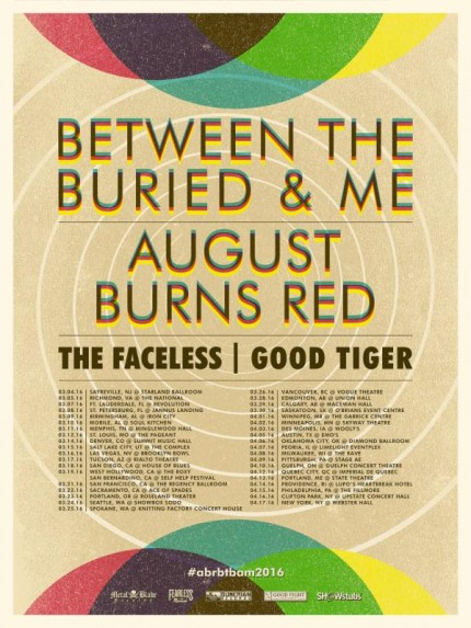 Between The Buried And Me - August Burns Red - promo flyer - Spring 2016 Tour - #MO33ILMFD99099