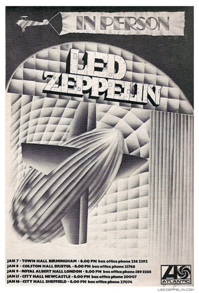 Led Zeppelin - 1970 - January - Tour Promo Flyer - #MOILMFLMD33997