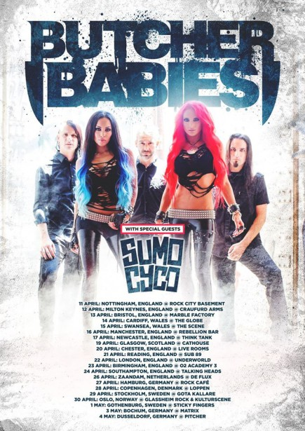 Butcher Babies - Sumo Cyco - April - May - 2016 Europe - promo tour flyer - #MO99099099
