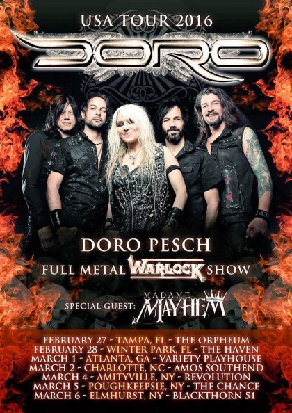 DORO - February - March - 2016 - tour promo flyer - #MO0099ILMFP6336