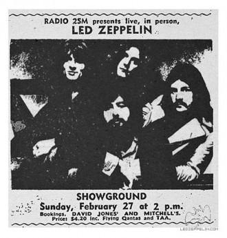 Led Zeppelin - Sydney Australia - Feb - 27 - 1972 - show flyer - #MO5599339