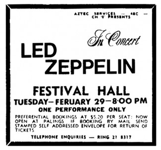 Led Zepplin - 1972 - Brisbane Australia - ad - #MO99009ILMF