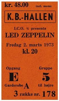Led Zeppelin - 1973 - Copenhagen Denmark - concert ticket - #M)333999MF