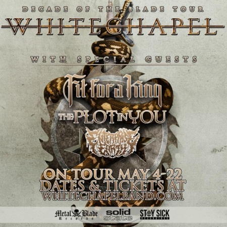 Whitechapel - Decade Of The Blade Tour - 2016 - May - promo tour flyer - #MO963639MR