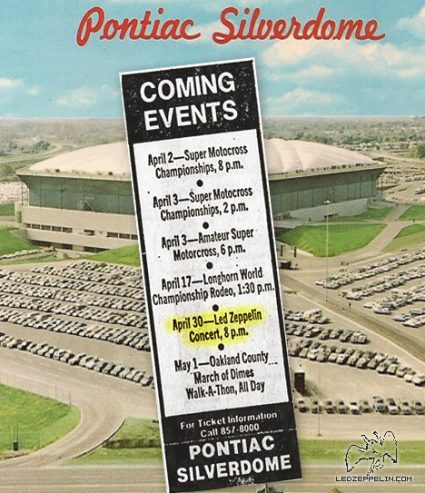 Pontiac Silverdome - Led Zeppelin - concert flyer - 1977 - #MO009ILMF66