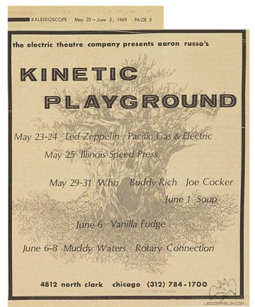 Led Zeppelin - Kinetic Playground - concert flyer - 1969 - #MO92099ILMFG