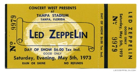 Led Zeppelin - Tampa Florida - ticket stub - May 5 - 1973 - #MO99ILMFG