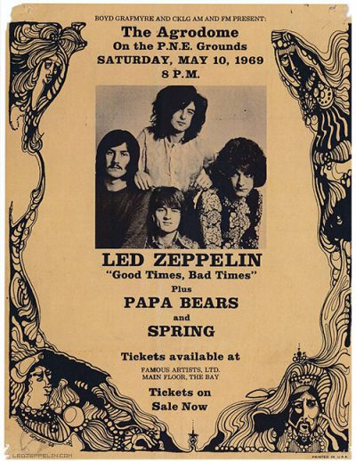 Led Zeppelin - The Agrodome - Vancouver - promo flyer - 1969 - #MO77799ILMFNO