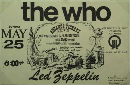 The Who - Led Zeppelin - Merriweather Post Pavillion - concert flyer - Columbia Maryland - 1969 - May 25 - #MO777ILN