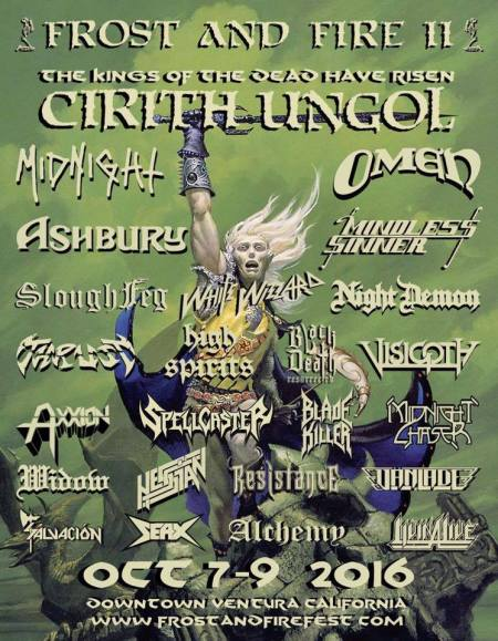 Cirith Ungol - Frost And Fire II - promo festival flyer - 2016 - Oct 7 - 9 - #MO9909ILMFSO