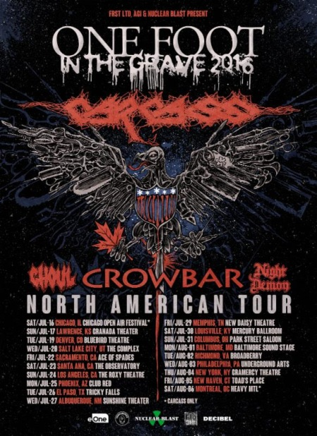 Carcass - Crowbar - North American Tour - Summer - 2016 - promo flyer - #MO9900099ILMNF