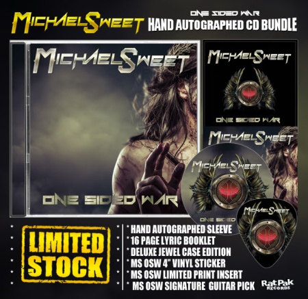 Michael Sweet - hand autographed CD bundle - promo flyer - One Sided War - 2016 - #MO99ILMF33