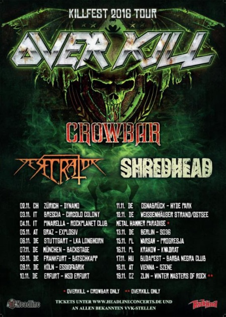 Overkill - Killfest 2016 - Tour Flyer Promo - #MO999099ILMF