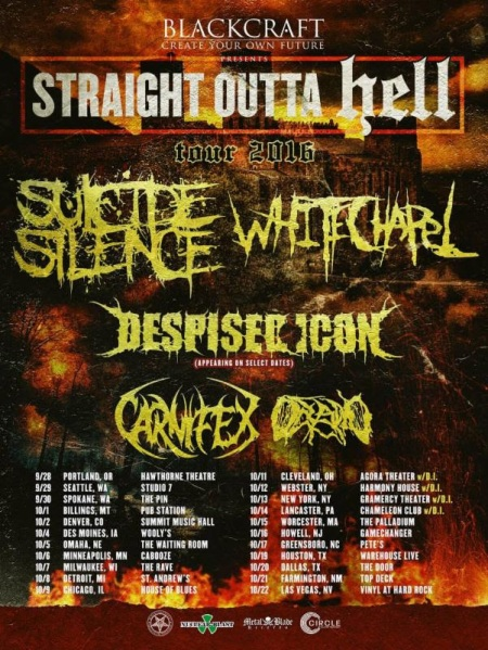 White Chapel - Suicide Silence - Fall Tour Promo Flyer - 2016 - #MO854ILMNMSSO33033