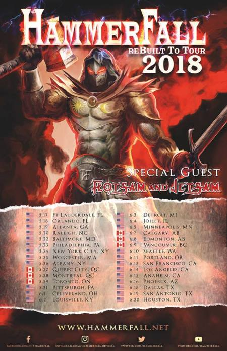 Hammerfall - Flotsam and Jetsam - tour flyer - 2018 - #MO933ILMNDSO